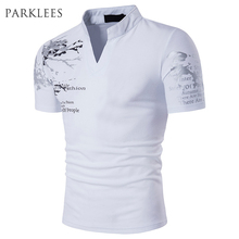 Buy Henley Neck T Shirt Men Tee Shirts 2017 Summer Floral Printed Short Sleeve Mens White T Shirts Casual Slim Fit Fashion Tops Tees for $15.67 in AliExpress store