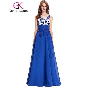 Grace Karin Robes De Soirée Sans Manches Appliques Mousseline de Soie Bon Marché Longue De Bal De Noce Robes Bleu Royal Robes