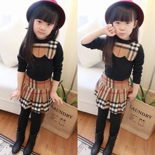 2015 New Children Girls Summer Clothing Sets Brand Plaid Long Sleeve Kids Apparel 2pcs suits T-shirt+Skirt Legging Pantiskirt