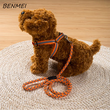 BENMEI Nylon Pet Dog Cat Collar Peppy Dog Harness Led Flashing Light Harness Collar Pet Safety Led Leash Rope Belt Wholesale