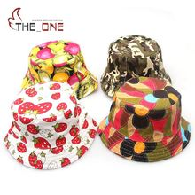 2-6T Baby Cartoon Printed Bucket Sun Hat Floral Children Summer Hats Baby Girls Fisherman Straw Hat Kids Boys Topee cap T011