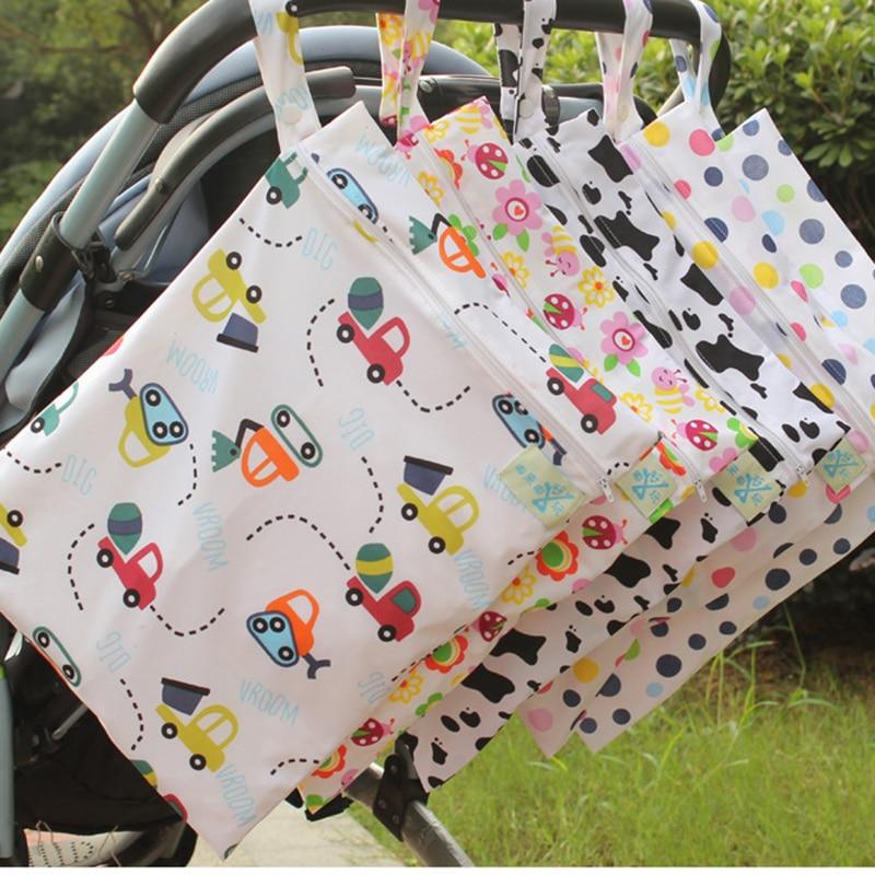 organizador de viaje para beb/és beb/és bolsa h/úmeda con bolsillo con cremallera pa/ñales de tela Impermeable Multicolor almacenamiento de la bolsa de viaje reutilizable