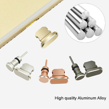 Phone Aluminum Alloy Charging Port Earphone Jack USB Dust Plug Set for iPhone 7 7plus 5 5S 6  Anti Dust Cap Stopper SIM Ejector