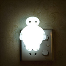 Newest Cute LED Night Light Creative Cartoon Baymax Style Baby Sleeping Lights Home Decoration Wall Lamp Nightlight EU / US Plug