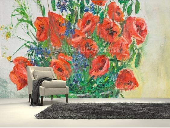 Custom painting wallpaper, Poppy Bouquet Oil Painting,3D retro wallpaper for living room sofa kitchen background PVC wallpaper<br>