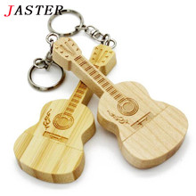 JASTER LOGO customized wooden guitar pen drive guitars usb flash drive memory Stick pendrive 8G 16GB 32GB metal keychain gift