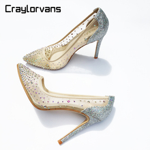 Craylorvans See Through Silver Bling Fashion Design Women's High Heel Pumps Summer Rhinestones Party Wedding Stiletto Thin Heels