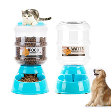 3.8L Large Capacity Cats Dog Automatic Feeder Drinking Plastic Food Water Drinking Fountain Animal Pet Dispenser Bowl Supplies(China)