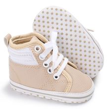 Handsome Baby Boys Shoes Crib Bebe Kids High Top Ankle Boots Infant Toddler First Walkers PU Leather Lace-Up Sports Sneakers