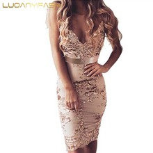 Luoanyfash Gold Paillette Evening party elegant sequin dress Women sexy v neck bodycon dress short beach summer mesh vestidos(China)