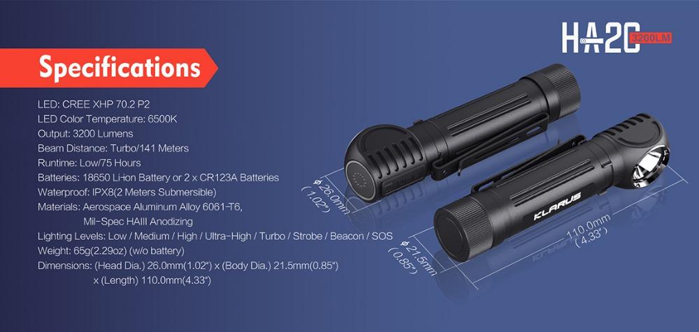 KLARUS HA2C 3200lumens USB fast charging multi mode L-Angle Tool Light headlamp