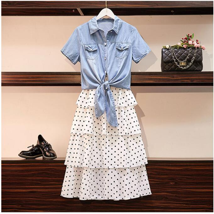 2019 Summer Fashion Women's Short Sleeves Denim Shirts + Dot Layered Skirt Two Pieces Sets Female Suits A1315
