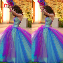 New Arrival Rainbow Style sweet 16 dresses Sweetheart Beaded Multi Colors Colorful Quinceanera Dress Prom gown party Dress 2016