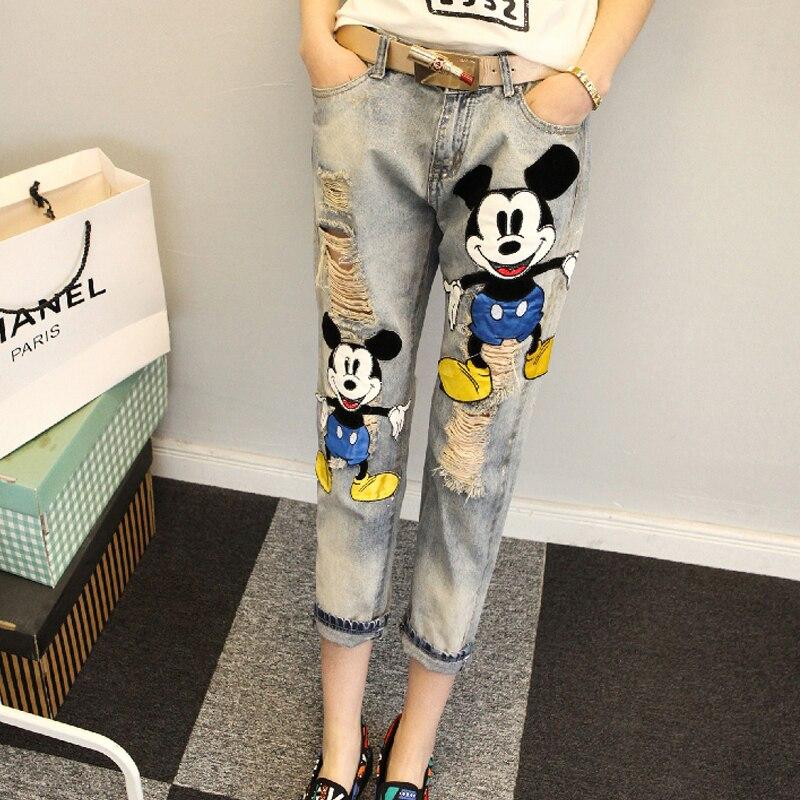 LYUSAN Orn Jeans  2017 Spring and Summer Womens Jeans Feet Down Trousers Korean Cartoon Hole Mickey Cowboy PantsÎäåæäà è àêñåññóàðû<br><br>