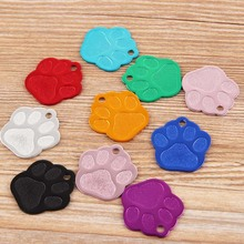 5PCS Color Random Useful Blank Alloy Pet Tag Dog ID Footprint Pendant Anti-Lost Message Dog Name Pendant Pet Supplies