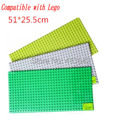 2pcs/lot! Quality Big Building Blocks Base Plate 51*25.5cm Building Surface Compatible with Legoe Duploe Baseplate Children Toys<br><br>Aliexpress