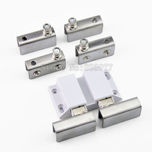 4Sets Stainless Steel Clamp Double Door Set Glass Door Pivot Hinge Set For 5-8mm Thickness Glass JF1274(China)