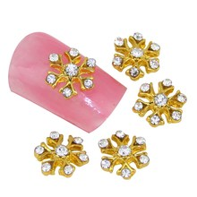 10Pcs/Lot Glitter Rhinestones 3D Metallic Nail Charm Stud Gold Plated Flower Shape Nail Art Slices DIY Cheap Nail Tools MA0319