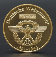 WW2 War Deutsche Souvenir Coin Erwin Rommel Marshal 24K Gold Plated Coin Germany Commander 40*3mm Polish Coin 2pcs/lot free ship