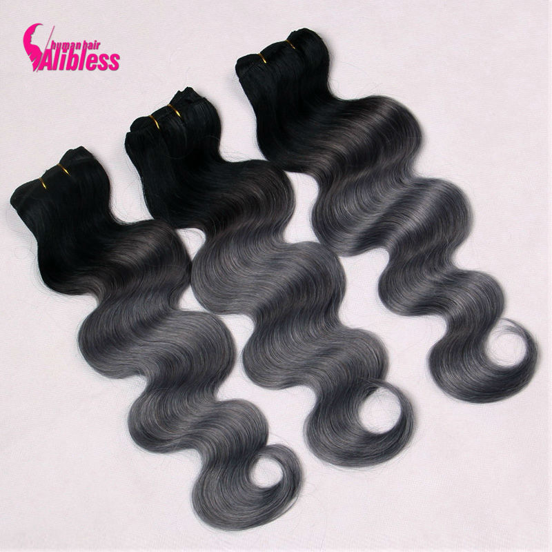 New Arrival Dark Gray Ombre Hair Extensions 3 Bundles New 3 Pcs 8A Human Virgin Ombre Malaysian Hair Body Wave Grey Hair Weave<br><br>Aliexpress