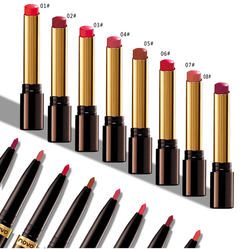 2018 New Korean Lip set Moisturizer Lipstick Mae Lipstick Nude 19Color Lip Liner Waterproof Contour Line Long Lasting Makeupz8