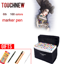 TOUCHNEW 30 40 60 80 168 Colors Markers Pen Painting Manga Art Marker Set Stationery Pen For School Sketch Markers(China)