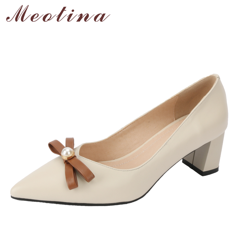 Meotina Genuine Leather Women Pumps High Heels Bow Pearl Lady Party Shoes Block Heel Leather Shoes Beige 2018 Fashion Shoes New<br>