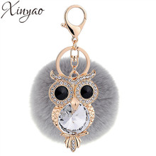 XINYAO Crystal Rhinestone Owl Key Chain Rabbit Fur Fluffy Pompom Keychain Bag Charm Keyring Artificial Fur Pompons Ball Keyring(China)