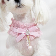 Adjustable Bow Tie With Pearl Dog Collar Cat Pet Cute Puppy Kitten Necktie Pink Collar for Chihuahua Teddy New Arrival
