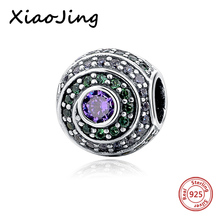 New Arrival 925 Sterling Silver Original Charm Beads European Crystal zircon center Fit Authentic pandora Bracelets Women Gifts(China)