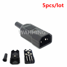 5pcs Black IEC C14 Male Plug Rewirable Power Connector 3 Pin IEC-C14 Socket Computer Cable Plug Power Adapter 10A 250V HY1098*5