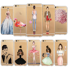 Mixed TPU Phone Cover For iphone 5 5s SE 6 6s 5C 6plus 6splus  Transparent Fashionable Girls Popular Utra Thin Back Cases