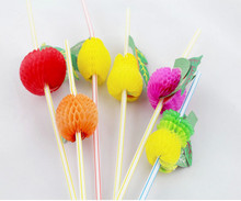 Free shipping 50PCS/Lot 3D Fruit Cocktail Paper Straws Umbrella Drinking Straws Party Decoration Color Assorted(China)