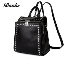Fashion Women Genuine Leather Mini Backpacks Rivet Black Soft Leather Bag Square Schoolbags For Female Leisure Bag mochilas(China)