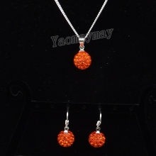 Orange Disco Ball Pendant Earrings And Necklace Crystal Shamballa Jewelry Set 10 Sets Wholesale
