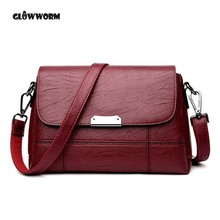2018 women small clutch bag genuine leather flap female burgundy ladies cow leather mini satchels crossbody shoulder bags(China)