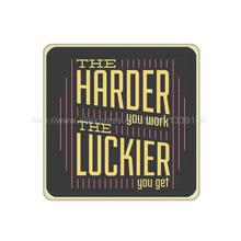 4Pcs/Lot Customized The Harder You Work The Luckier You Get Sign Cork Wood Beverage Coaster Table Drink Tea Cup Mat Home Decor