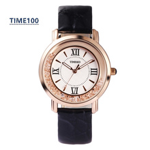 Fashion Women's Quartz Watch Blue Leather Strap Roman Numeral Big Dial Original Brand Watches For Women W0254
