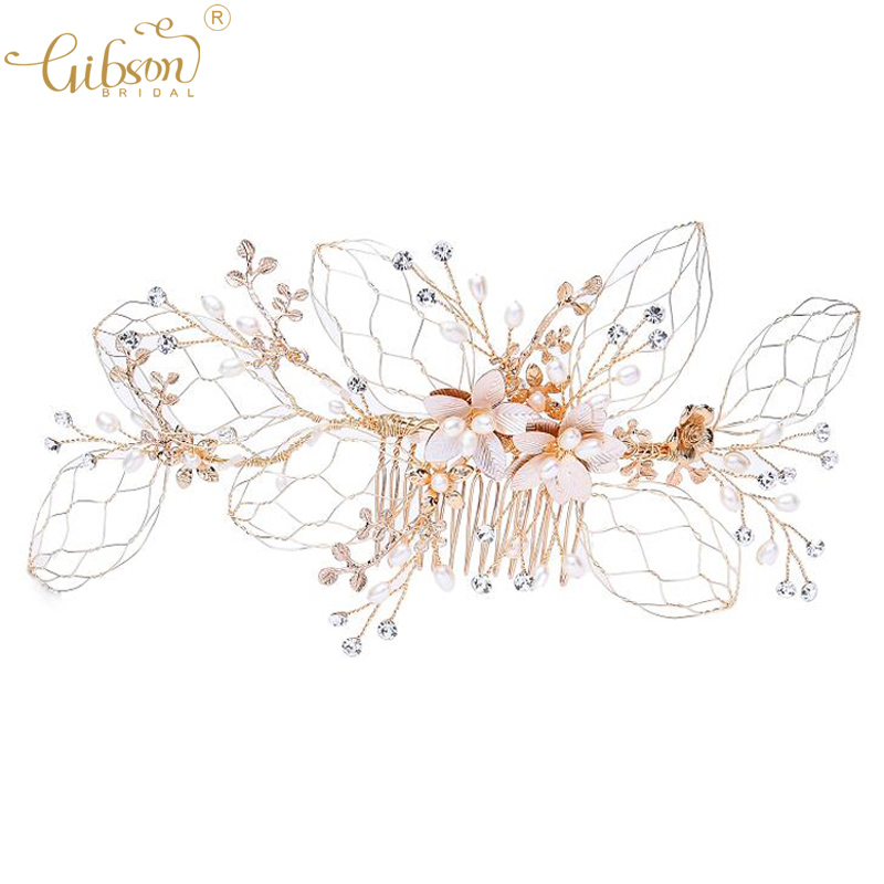 Wedding Bridal Leaf Hair Accessories Freshwater Pearl Boho Hair Comb Inspired  Headpiece Side Combs Bobby Pin