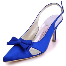 EP11004 Blue Women Bridal Party Prom Pumps Pointy Toe High Heels Satin Trim Bowknot Cut-Outs Wedding Shoes