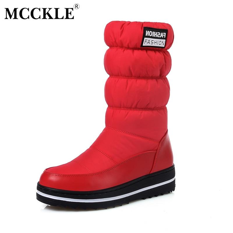 MCCKLE 2017 Women Winter Snow Boots Female Warm Cotton Down Shoes Waterproof Fur Platform Mid Calf Boots Black Plus Size 34-44<br>