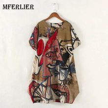 Mferlier Artsy Novelty Floral Print Summer Dresses O Neck Short Sleeve Yellow Red Blue Cotton Linen Retro Dress Plus Size(China)
