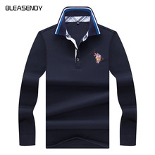 Brand 2018 New Men's Long-sleeved Polo Shirt High-quality Solid Color 3D Horse Embroidery Straight Ralph POLO Shirt Blouse(China)