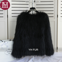 2017 New fashion winter lady genuine raccoon fur outerwear  Women natural real raccoon fur coat knitted female fur jacket