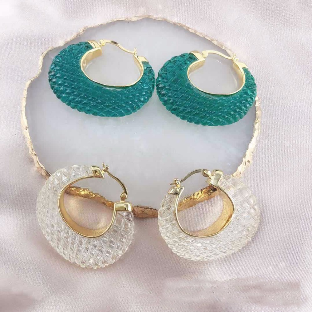 Geometry Fish Scale Transparent Resin Bird Nest brass HOOP Earing Two Color Women Accessories Kolczyki Kupe Joyas Jewellery
