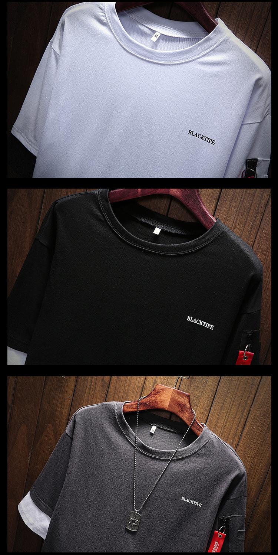 Men's Short Sleeve T-shirt 5-5 Sleeve Summer Korean Fashion Hip-hop Fake Two Loose Chao Brand 7-Sleeve Half Sleeve male MP191 17
