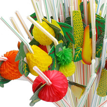 50PCS/Lot 3D Fruit Cocktail Paper Straws Umbrella Drinking Straws Party Decoration Color Assorted