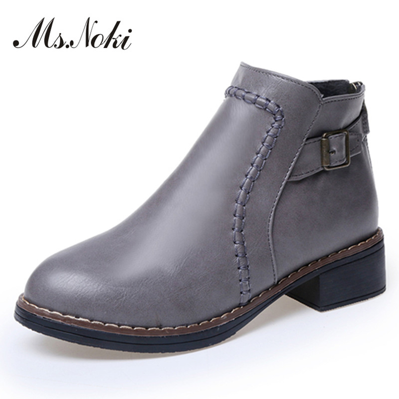 western boots lady vintage round toe buckle decoration ankle boots fashion womens square heel platform casual shoes flat boots<br><br>Aliexpress