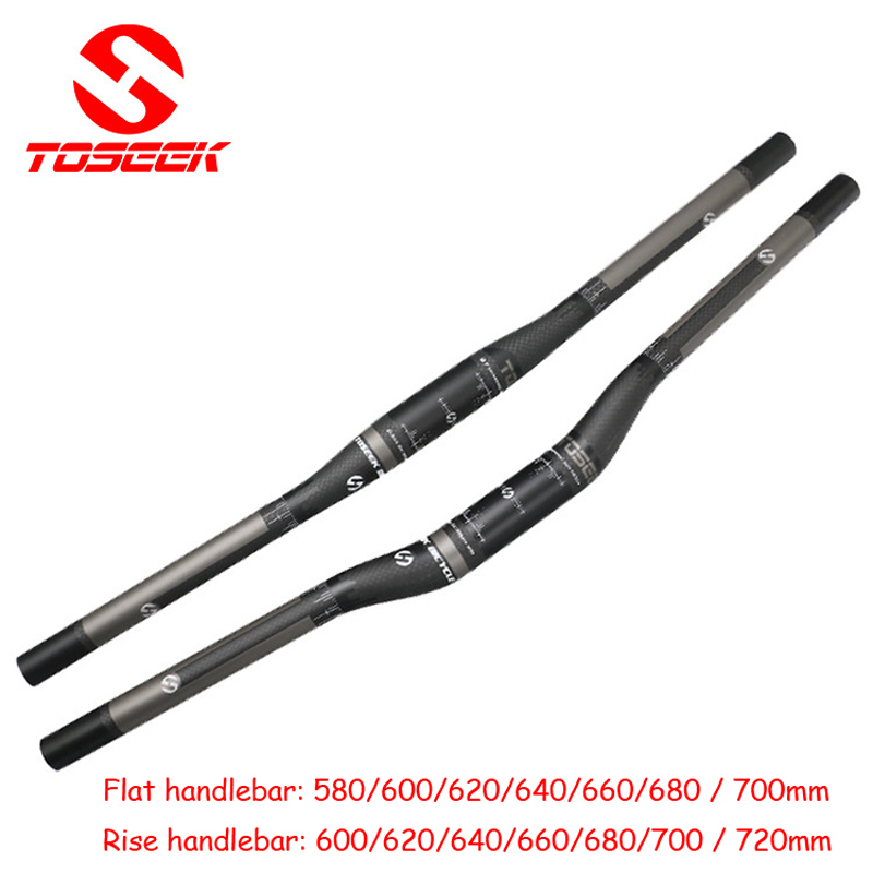 TOSEEK Carbon Fiber 25.4*580-700mm 3K MTB Road Bike Bicycle riser Bar Handlebar