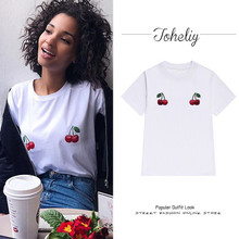 2017 Women's Bts Tops Europen and American street Plant cherry printingloose short-sleeved female t-shirts casual summer(China)